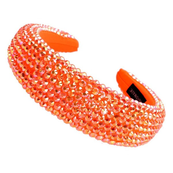 Orange Faceted Bead Padded Headband