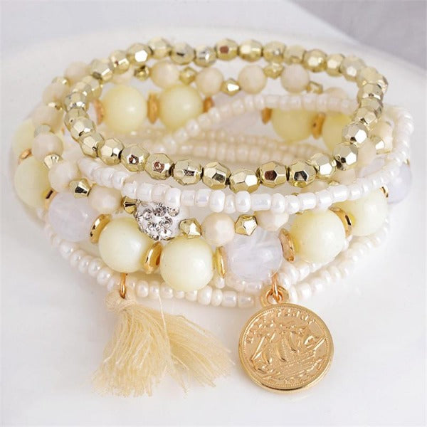 Beige Beads 6 Piece Bohemia Style Multi-layer Gold Coin Tassel Bracelet