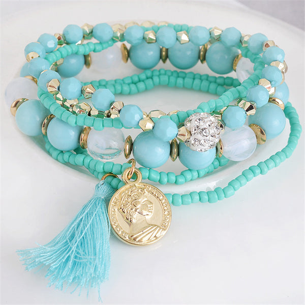Blue Beads 6 Piece Bohemia Style Multi-layer Gold Coin Tassel Bracelet