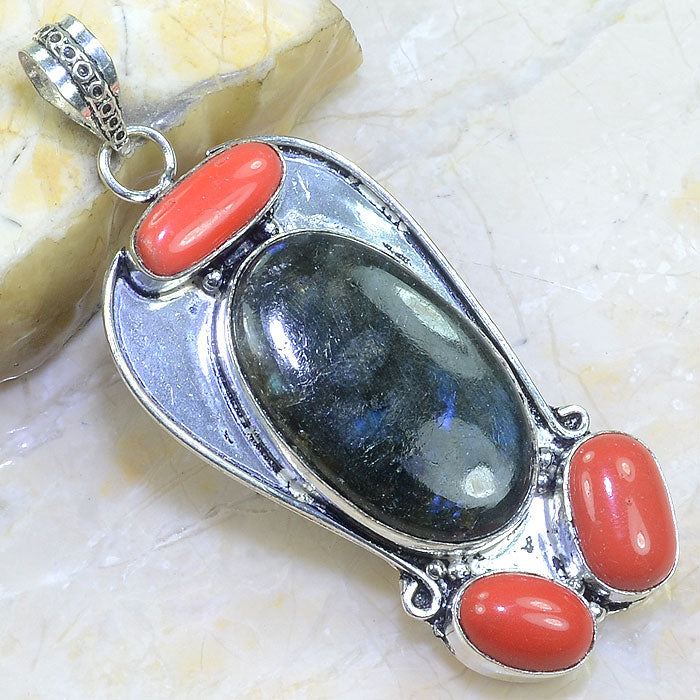 "HUGE LABRADORITE, RED CORAL .925 SILVER PLATED PENDANT 3"" + 20"" CORD"