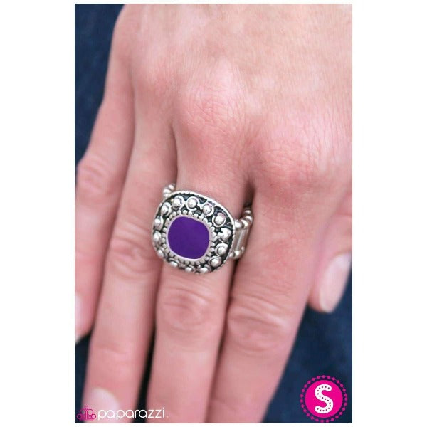 """Hold Your Horses"" Square Frame Purple Antiqued Finish Ring"
