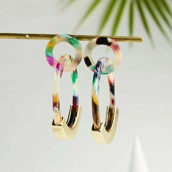 Geometric Double Circle Multi-Color Acetate Earrings