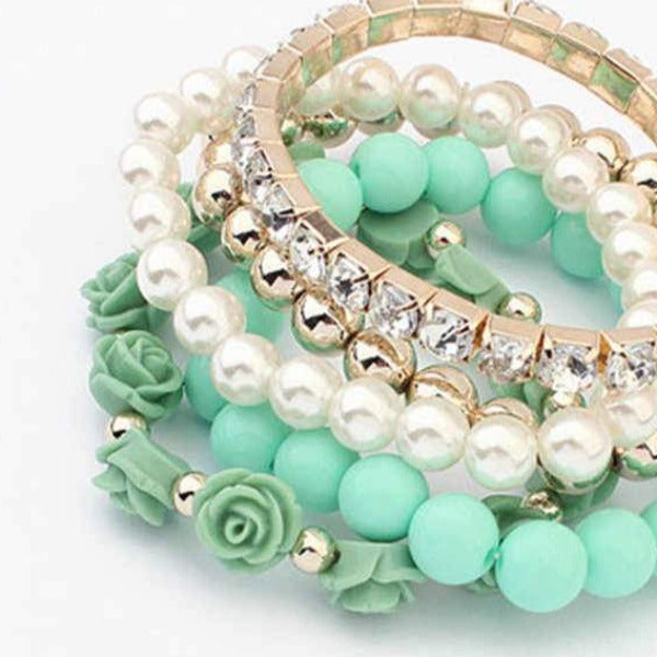 Blue Gold White Multi-layer Green Flowers Rhinestone 5 Piece Set of Bracelets
