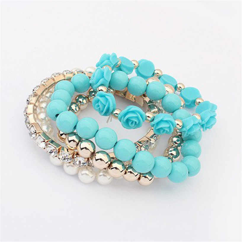 Blue Gold White Multi-layer Flower Rhinestone 5 Piece Set of Bracelets