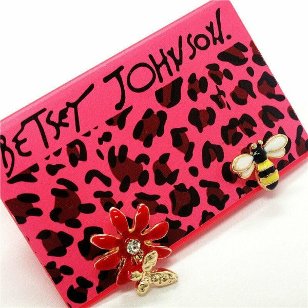 Betsey Johnson Rhinestone Bumble Bee Butterfly on Red Flower Earrings