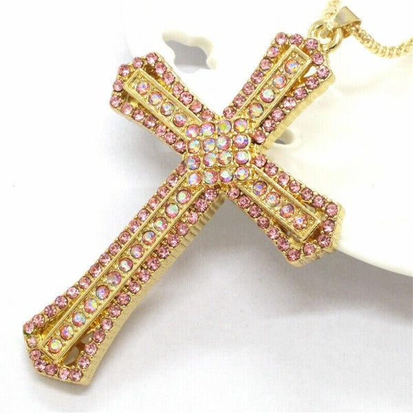 Betsey Johnson Pink Cross Crystal Gold Pendant Necklace