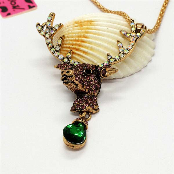 Betsey Johnson Elk Deer Green Teardrop Crystal Pendant Necklace