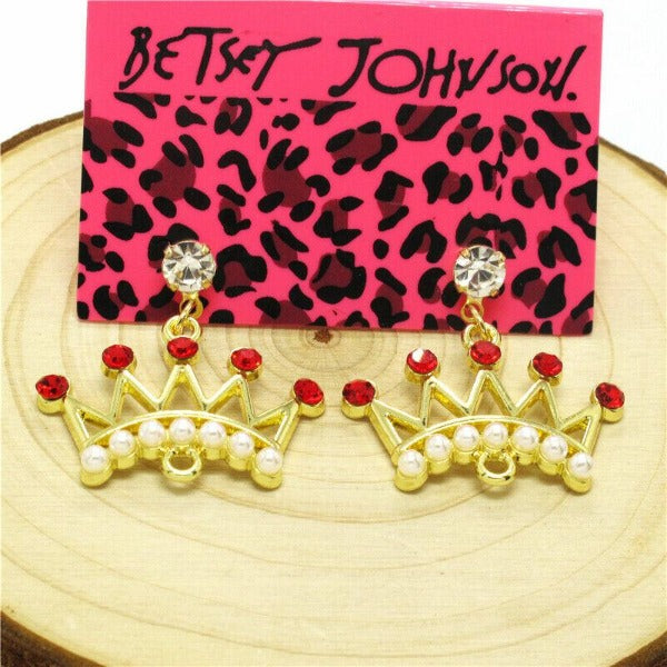 Betsey Johnson Crown Red Rhinestone Gold Dangle Earring