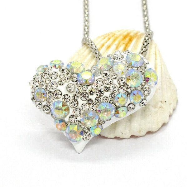 Betsey Johnson  Heart White Crystal Gold Necklace