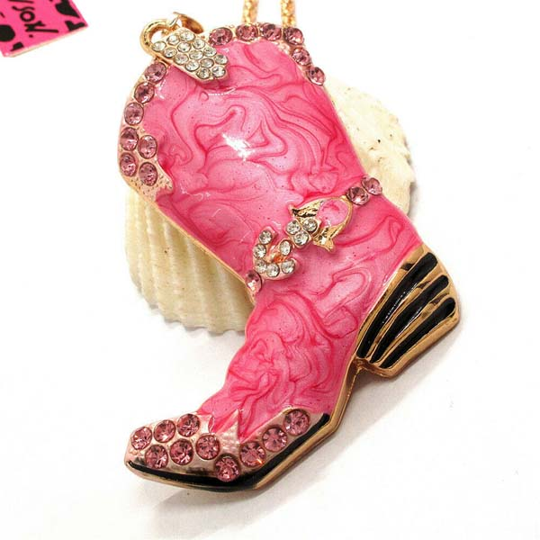 Betsey Johnson Cowboy Boot Dark Pink Marble Crystal Pendant Necklace