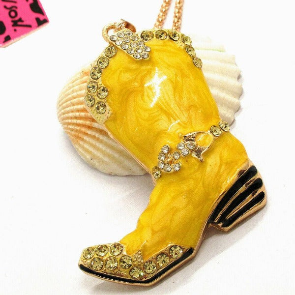 Betsey Johnson Cowboy Boot Yellow Marble Crystal Pendant Necklace