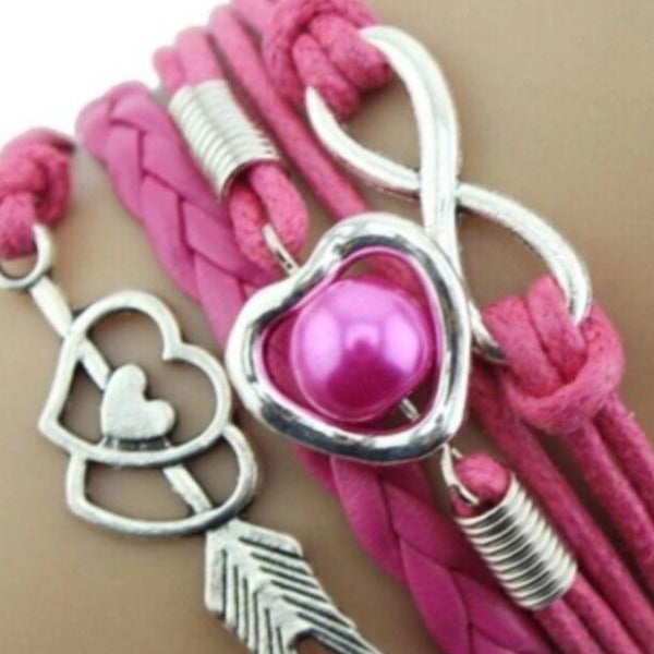 Infinity, Hearts, Arrow, Hot Pink & Silver Friendship Bracelet
