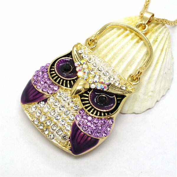 Betsey Johnson Owl Purse Purple Rhinestones Crystal Eyes Gold Necklace