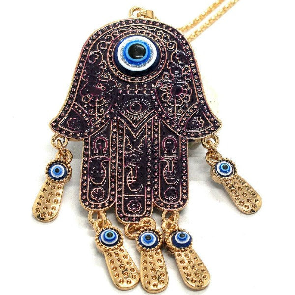 Betsey Johnson Palm Turkish Purple Evil Eye Necklace