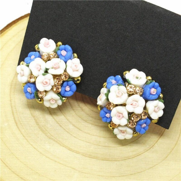 Betsey Johnson Flower Blue & White Enamel Earrings
