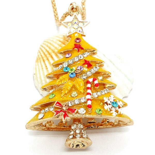 Betsey Johnson Christmas Tree Yellow Crystal Pendant Necklace