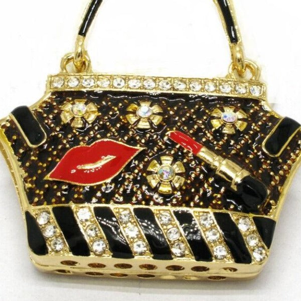 Betsey Johnson Handbag Purse Lipstick Lips Crystal Necklace
