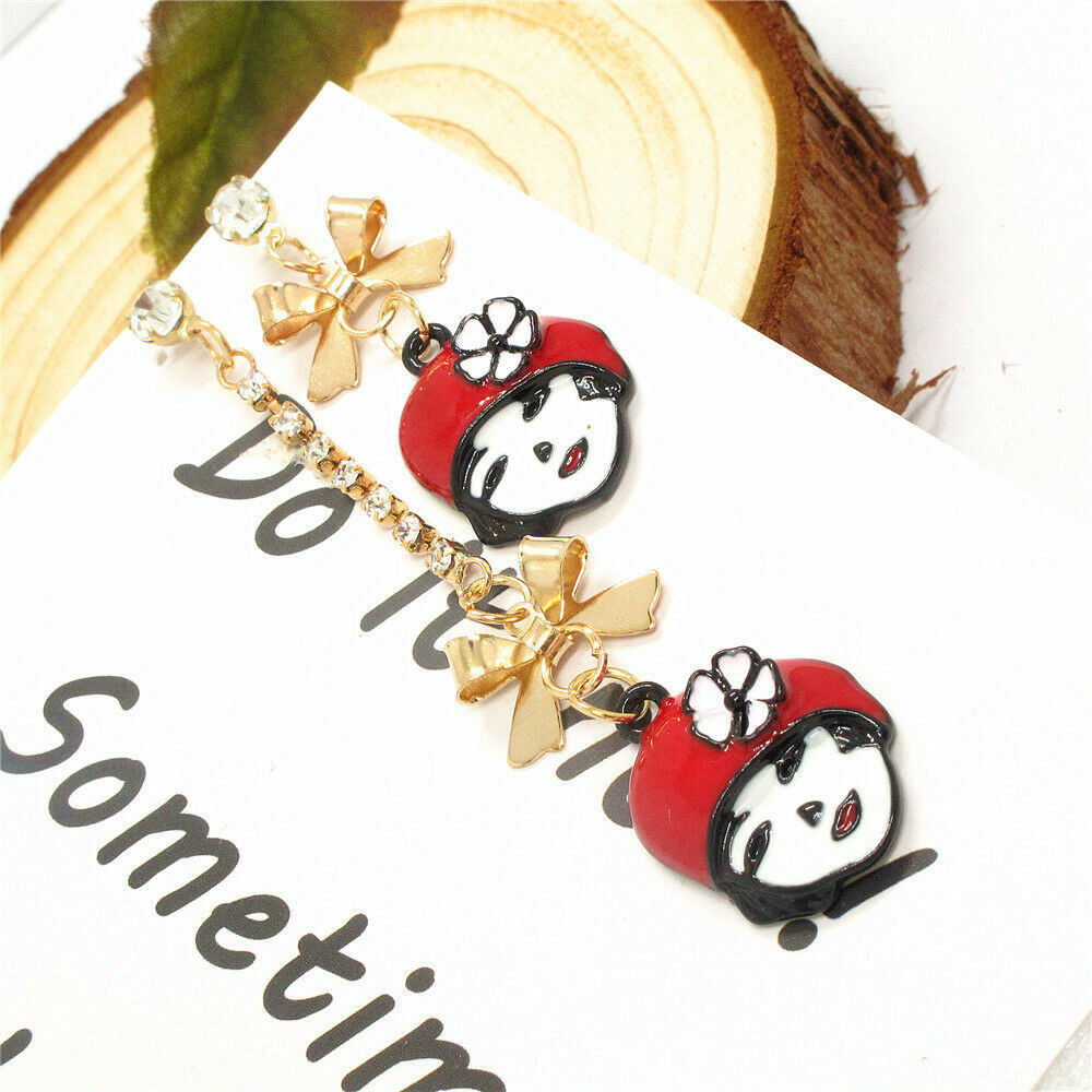 Betsey Johnson Girl Red Enamel Hat Bow Mismatch Earrings