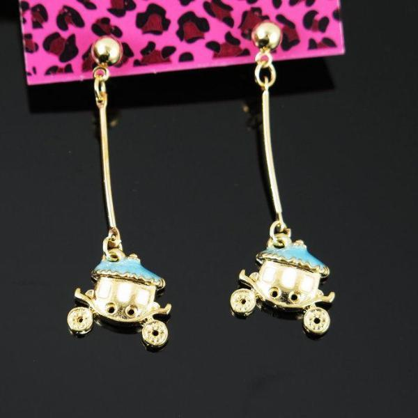 Betsey Johnson Blue & Golden Carriage Gold Ball Dangle Long Drop Earrings