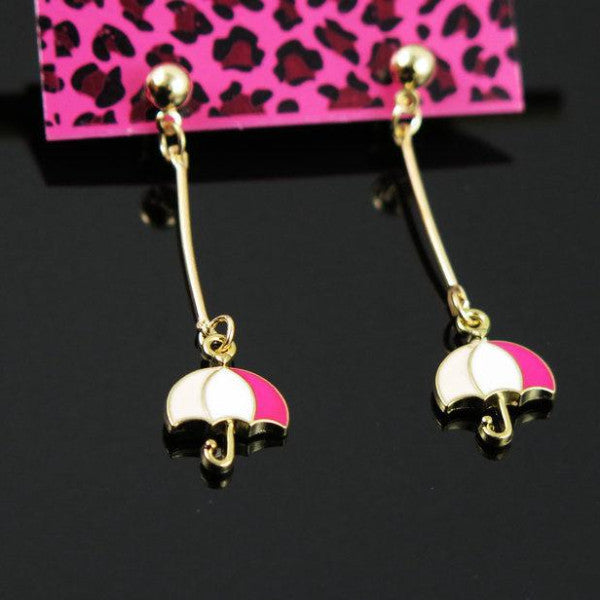 Betsey Johnson Pink & White Enamel Umbrella Golden Ball Long Dangle Earrings