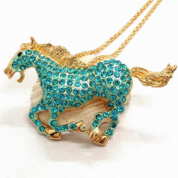 Betsey Johnson Horse Stallion Blue Crystal Rhinestone Gold Necklace
