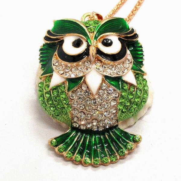 Betsey Johnson Owl Green Rhinestones Enamel Eyes Gold Necklace