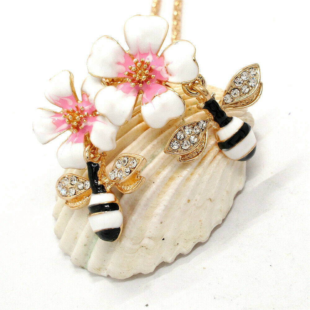 Betsey Johnson Double Bee Pink Flower Pendant Necklace