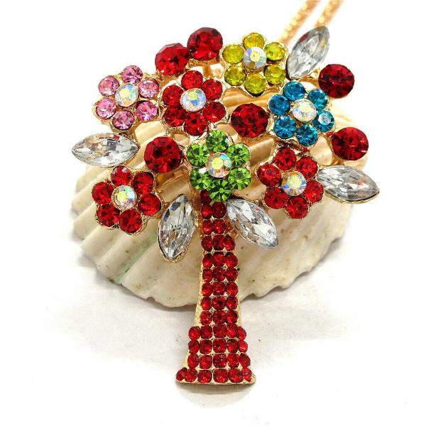 Betsey Johnson Multi-Color Tree Pendant Necklace