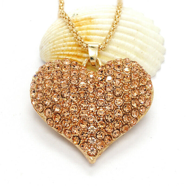 Betsey Johnson Heart Champagne Crystals Gold Pendant Necklace
