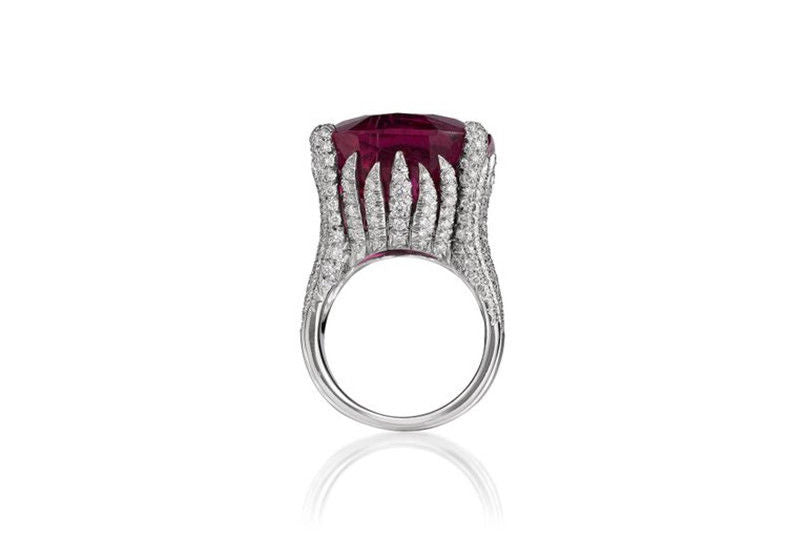 Huge Synthetic Ruby White Topaz Silver Plated Ring Size 9
