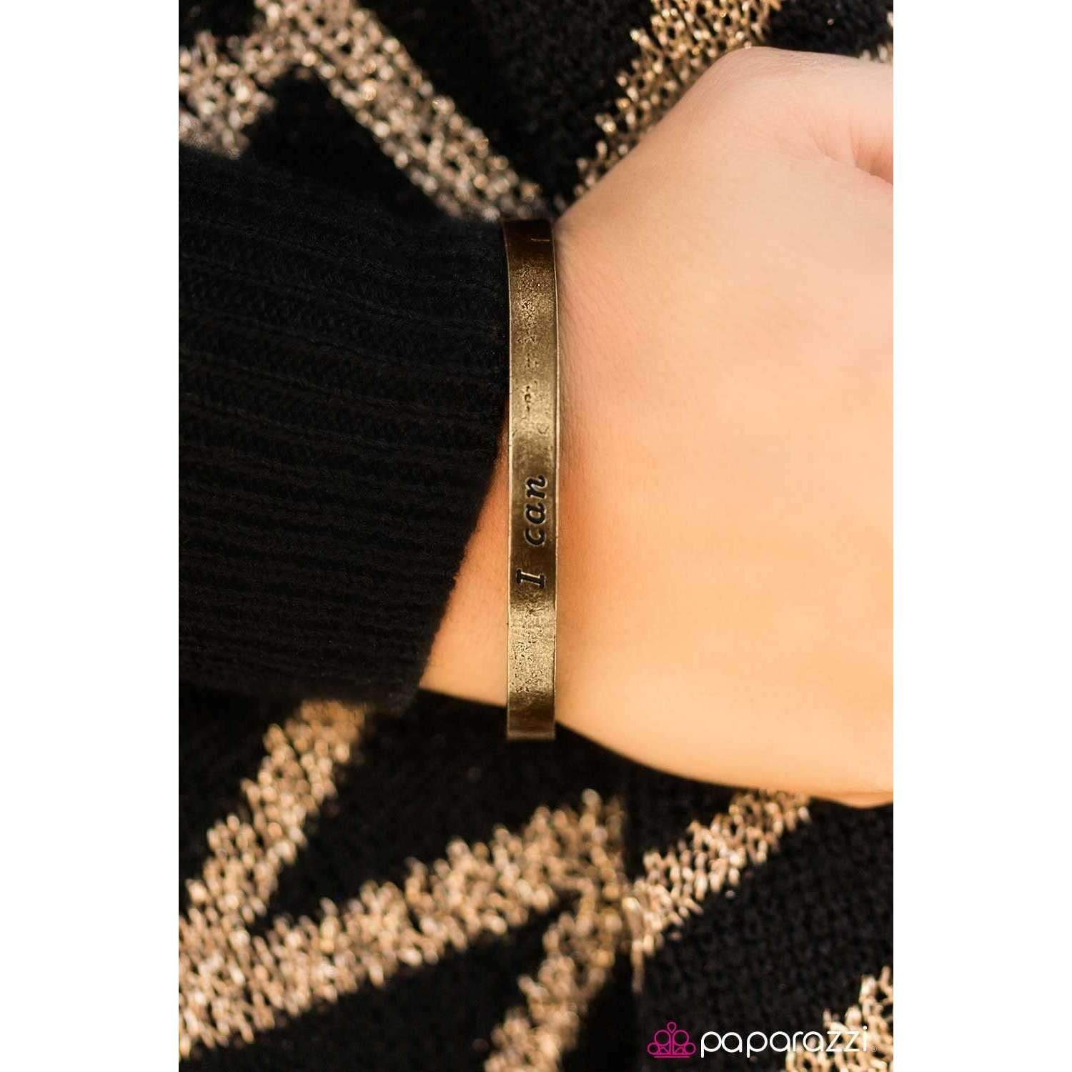 """I Can"" - Brass - Engraved with ""I can"" - Inspirational Cuff Bracelet"
