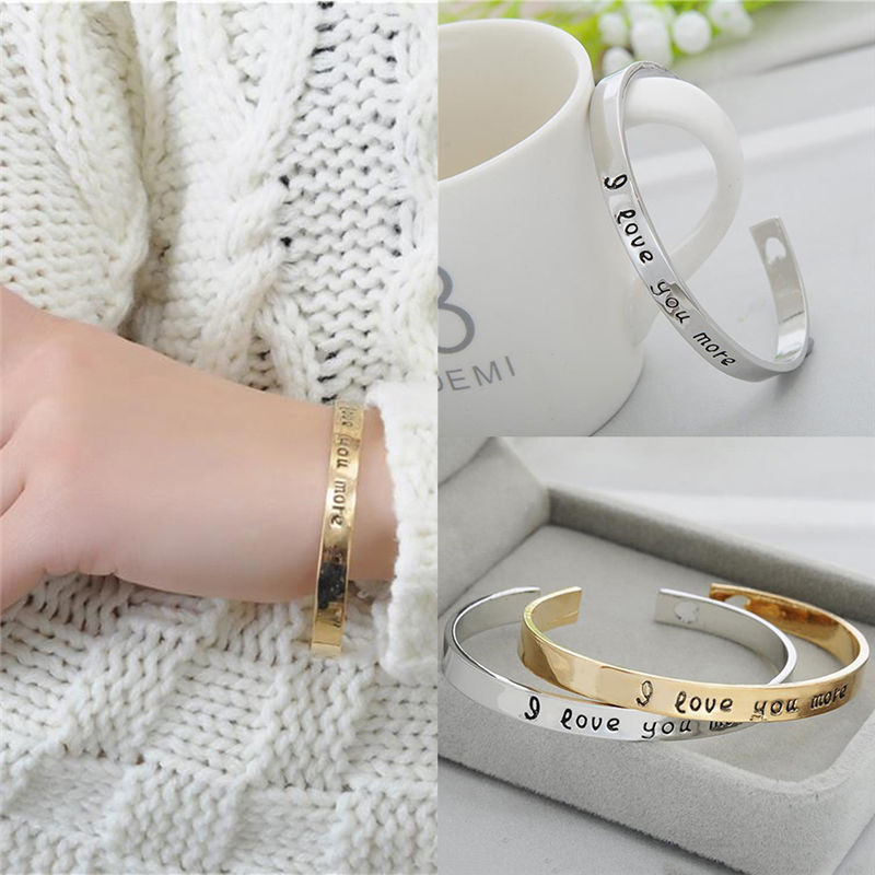 """I love you more"" Gold Tone Engraved Cuff Bracelet"