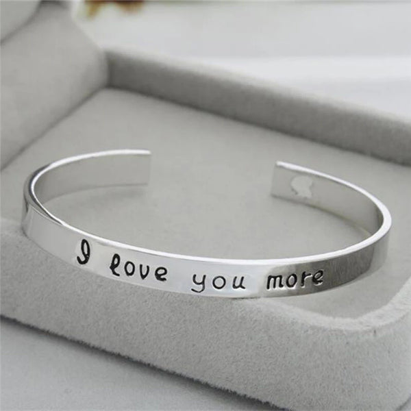"""I love you more"" Silver Tone Engraved Cuff Bracelet"
