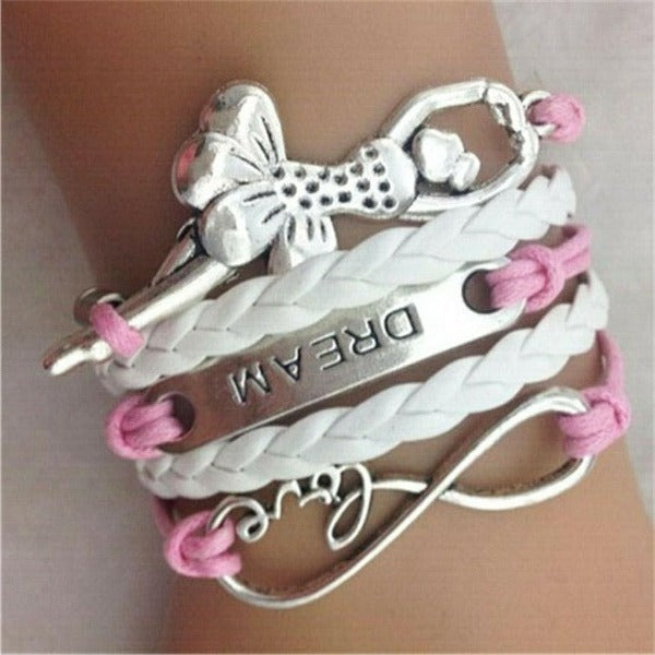 Love, Infinity, Ballet, Key, Pink & White Silver Friendship Bracelet