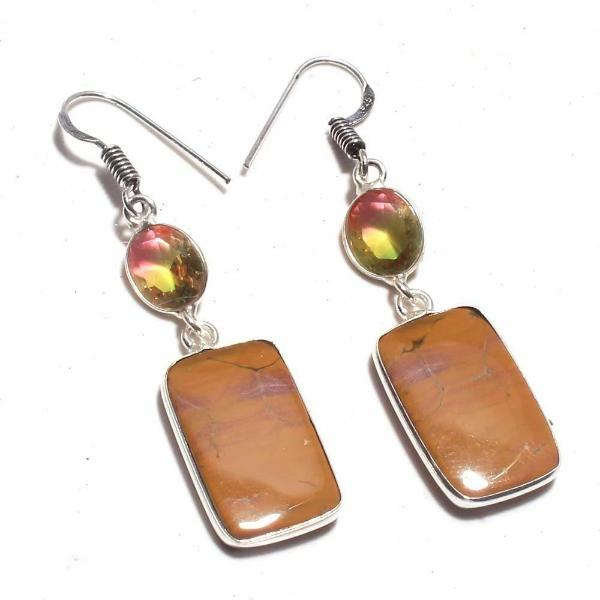 Jasper Bi-Color Tourmaline Earrings
