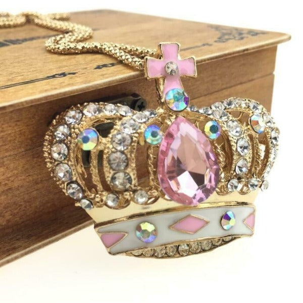 Betsey Johnson Jeweled Crown Pink Gem Pendant Necklace