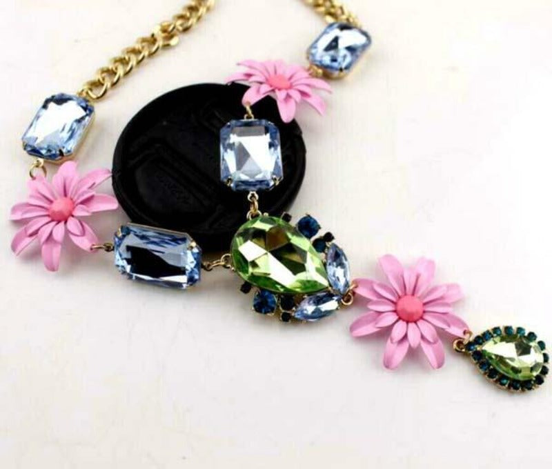 Betsey Johnson Pink Flowers Green & Blue Crystal Necklace
