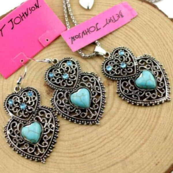 Betsey Johnson Turquoise (faux) Heart Pendant Necklace & Earrings