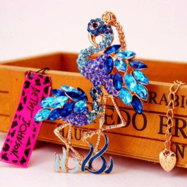 Betsey Johnson Blue Flamingo With Baby Pendant Necklace