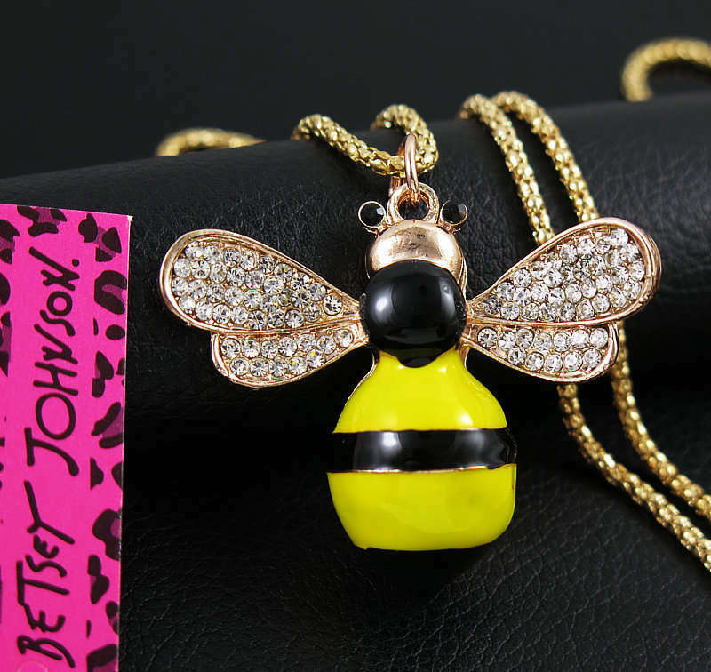 Betsey Johnson Bumble Bee Yellow & Black Enamel Gold Necklace