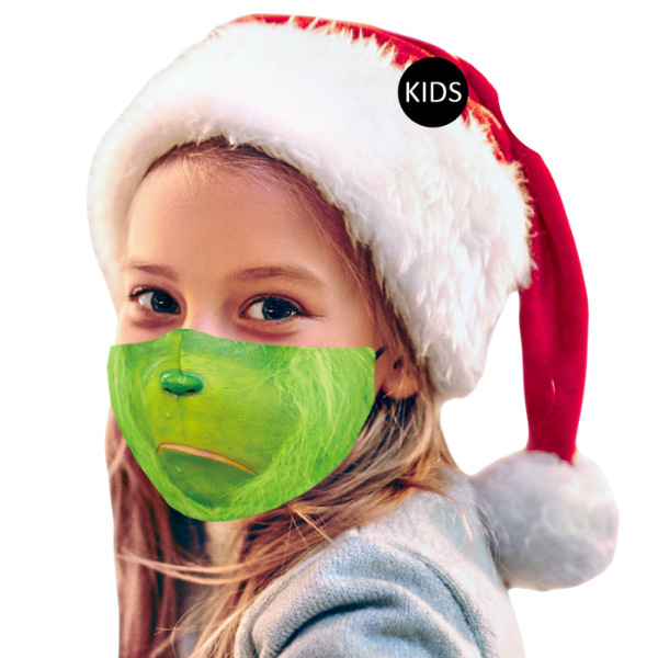 Kids Face Mask Grinch Print 3D Fit Unisex
