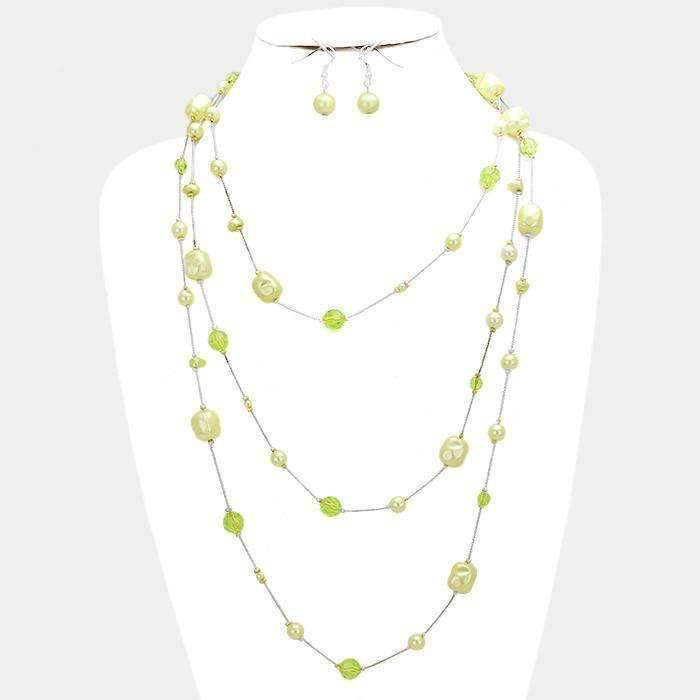 Fresh Pearl Station Rhodium, Green, Yellow Necklace & Earring Set