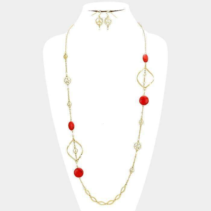 Howlite Stone & Bead Station Red Coral Long Necklace & Earring Set