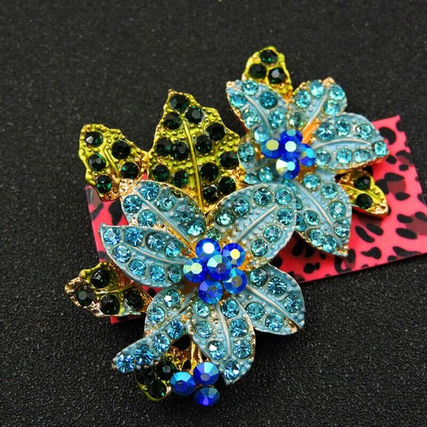 Betsey Johnson Flower Cluster Blue Crystal Rhinestone Brooch Pin