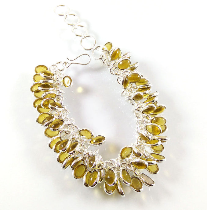 Lemon Quartz Yellow .925 Silver Plated Grapes Bracelet