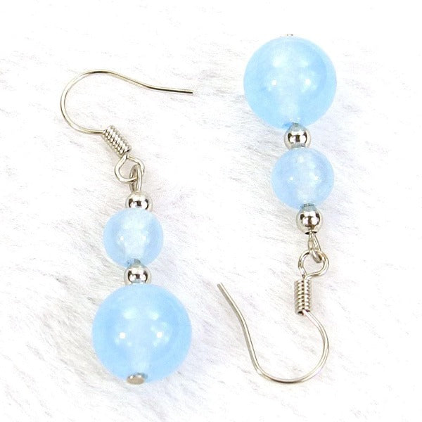 Light Blue Jade Natural Gemstone Silver Plated Earrings