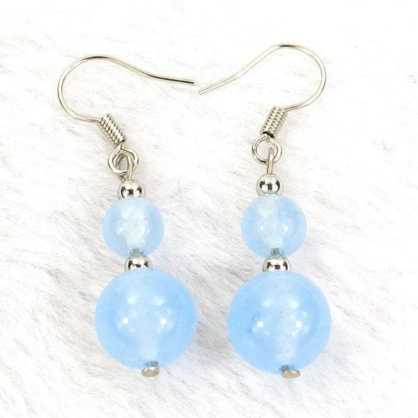 Light Blue Jade Natural Gemstone Beads Silver Plated Dangle Earrings