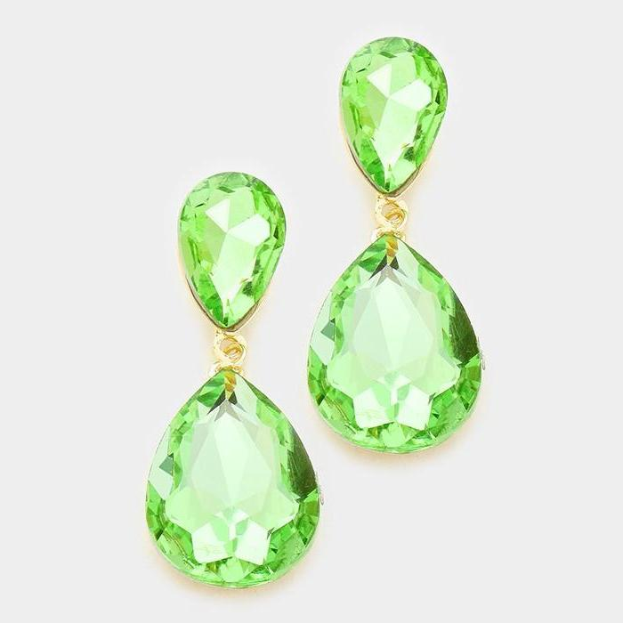Peridot Green Crystal Teardrop Evening Bridal Gold Dangle Earrings