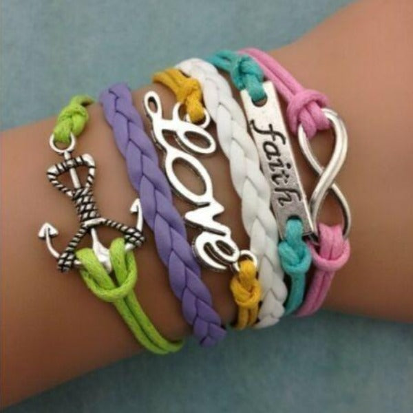 Faith, Anchor, Infinity, Love, Multi-Color Silver Friendship Bracelet