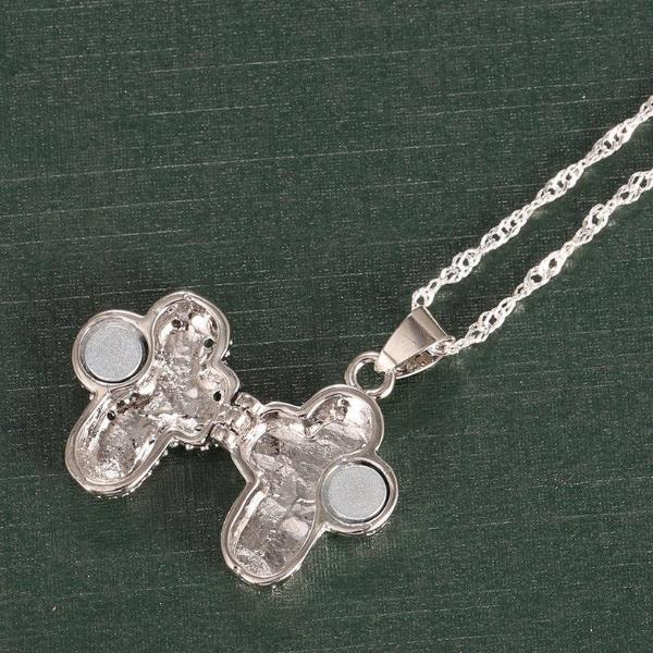 Cross Magnetic Locket Silver Plated Pendant Chain Necklace